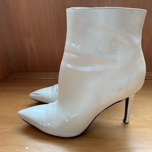 Patent white leather ankle boots
